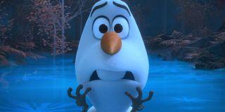 Frozen II Olaf looks worried on a frozen lake