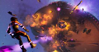 """The massive UFO mothership that loomed over Fortnite's island for Chapter 2 Season 7 explodes in the climax of the season-ending """"Operation: Skyfire"""" event."""