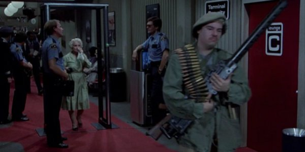 Airplane security checkpoint scene