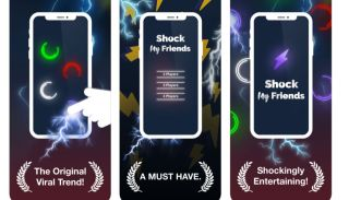 A screen grab of the 'Shock My Friends' display screens in the Apple App Store.