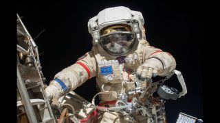 Oleg Kotov conducting a spacewalk on Aug. 22, 2013.