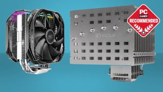 Deepcool AS500 Plus and Noctua NH-P1 CPU air coolers on a two-tone blue background