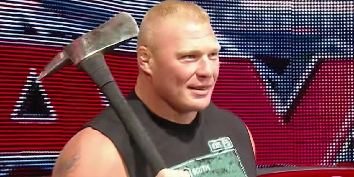 Brock Lesnar with an ax Monday Night Raw