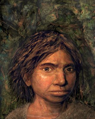 An artist's rendering show's the first-ever portrait of a Denisovan woman, recreated from an ancient DNA sample.
