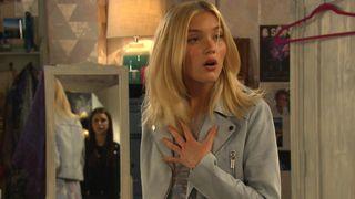 Meena Jutla shocks Leanna in her bedroom in Emmerdale.