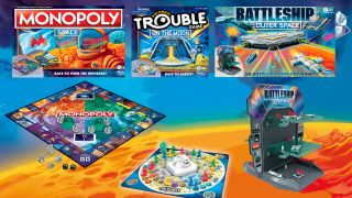 Hasbro has launched the Space Capsule collection of board games, including Battleship Outer Space, Monopoly Space and Trouble: On the Moon Edition. The games are available exclusively at Target stores.