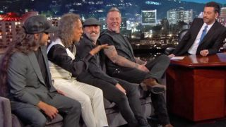 A picture of Metallica on Jimmy Kimmel Live