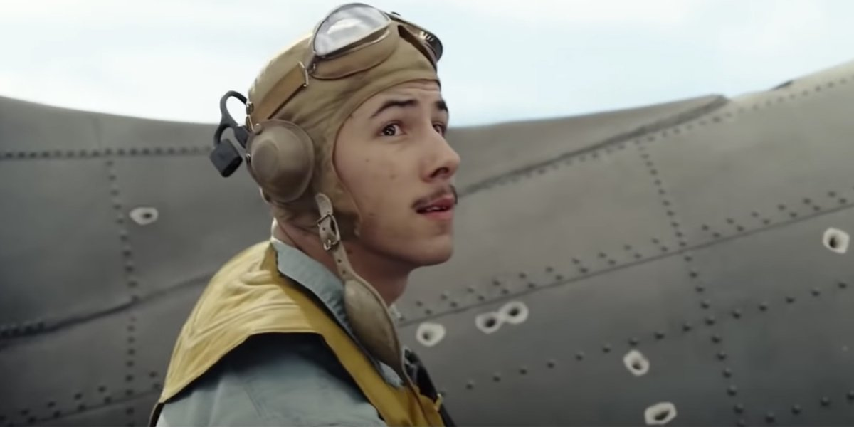 Nick Jonas' mustache in Midway 2019