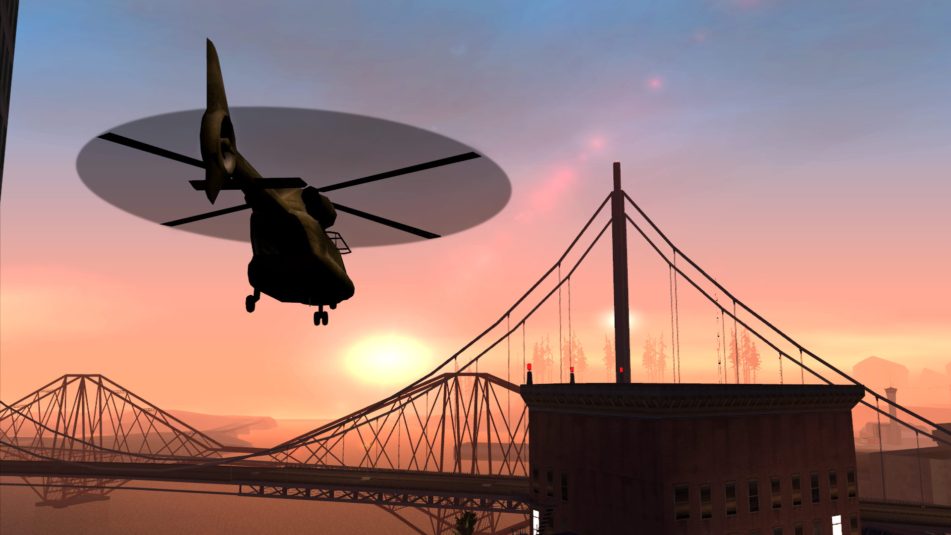 GTA San Andreas helicopter flying into the sunset