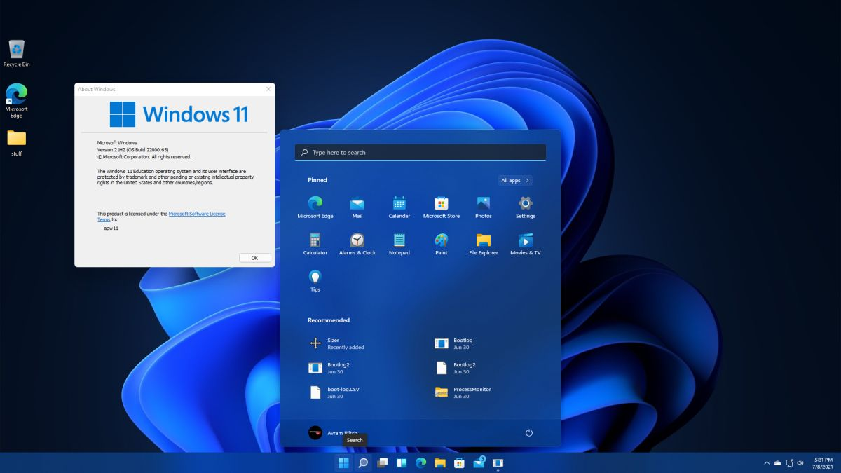 Windows 11 Build 22000.65 Adds Search to Start Menu, Bug Fixes