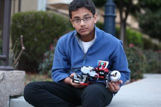 Shubham Banerjee Holds Lego-Based Braille Printer