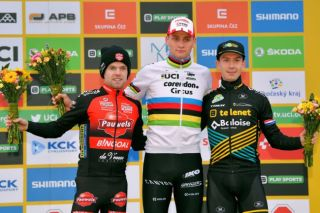 Pauwels Sauzen-Bingoal's Eli Iserbyt (left) could only finish second to Mathieu van der Poel (Corendon-Circus) at the Tabor round of the 2019/20 UCI Cyclo-Cross World Cup, but retained his overall lead in the competition