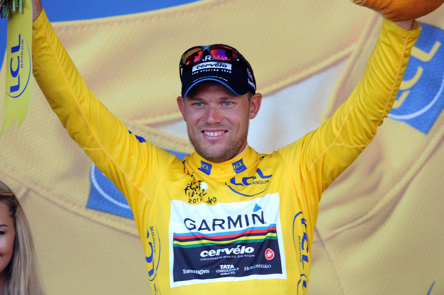 Thor Hushovd on podium, Tour de France 2011, stage two