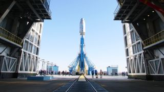 A Soyuz rocket arrives at the launch pad at the Vostochny Cosmodrome in Siberia ahead of a planned launch of 36 OneWeb satellites on March 24, 2021.