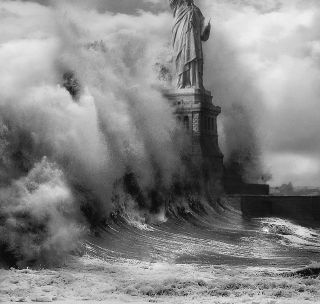 Statue of Libery storm wave