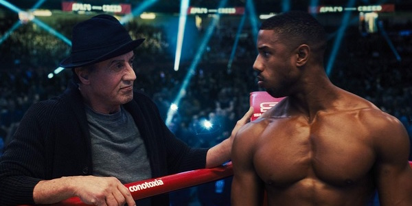 Creed II Rocky and Adonis in the corner, preparing for the fight