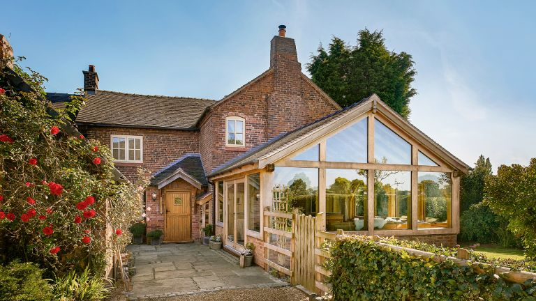 cottage extension ideas - oakwright oak frame conservatory extension on cottage