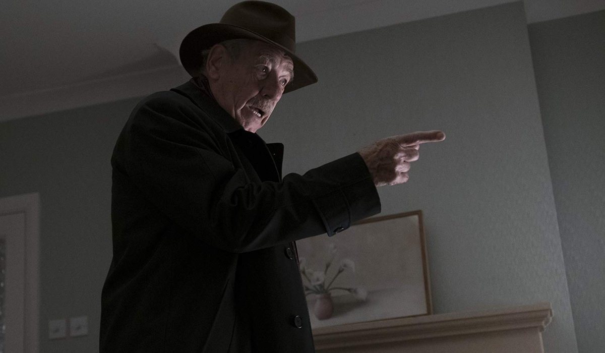 The Good Liar Ian McKellen accusing someone with his finger pointed