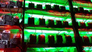 Multiple Bitcoin ASICs on shelves
