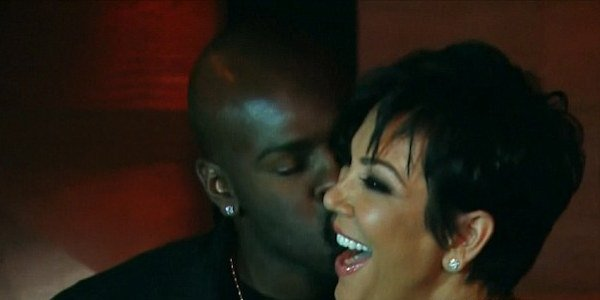 Corey Gamble kissing Kris Jenner on Keeping Up With the Kardashians