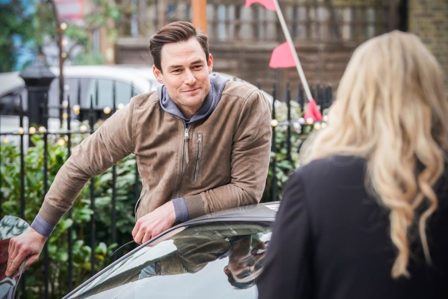 Sharon's brother Zack pulls up in the Square in EastEnders