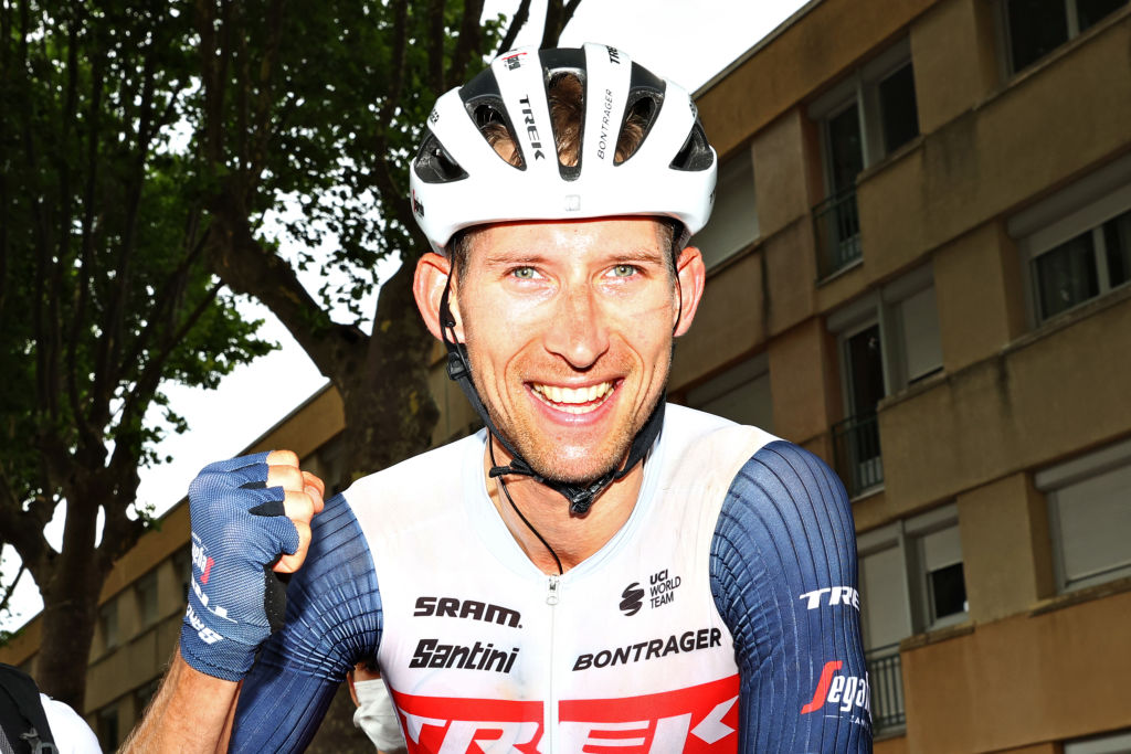 QUILLAN FRANCE JULY 10 Bauke Mollema of The Netherlands and Team Trek Segafredo celebrates at arrival during the 108th Tour de France 2021 Stage 14 a 1837km stage from Carcassonne to Quillan LeTour TDF2021 on July 10 2021 in Quillan France Photo by Michael SteeleGetty Images