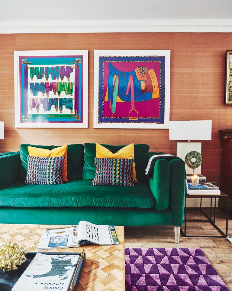 colourful living room with green velvet sofa