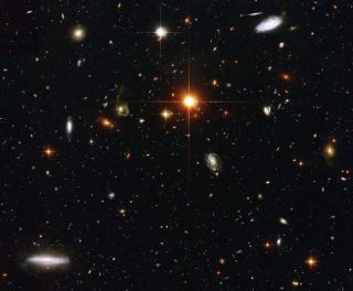 Gazing deep into the universe, NASA's Hubble Space Telescope has spied a menagerie of galaxies. This image represents a typical view of our distant universe. In taking this picture, Hubble is looking down a long corridor of galaxies stretching billions of