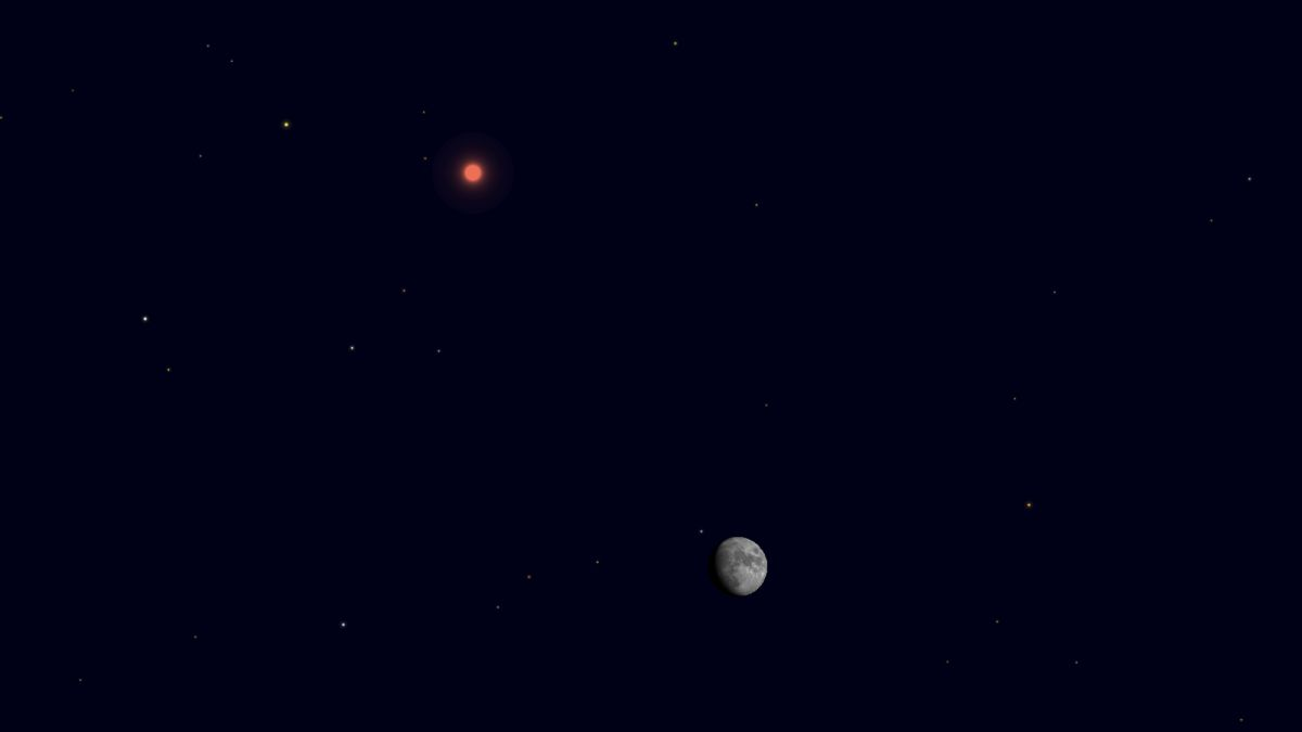 See the moon and Mars shine close together on Thanksgiving eve tonight