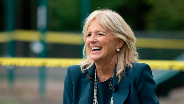Jill Biden, the wife of Democratic presidential candidate Joe Biden, speaks during a Back to School Tour at Shortlidge Academy in Wilmington, Delaware, on September 1, 2020. (Photo by JIM WATSON / AFP) (Photo by JIM WATSON/AFP via Getty Images)