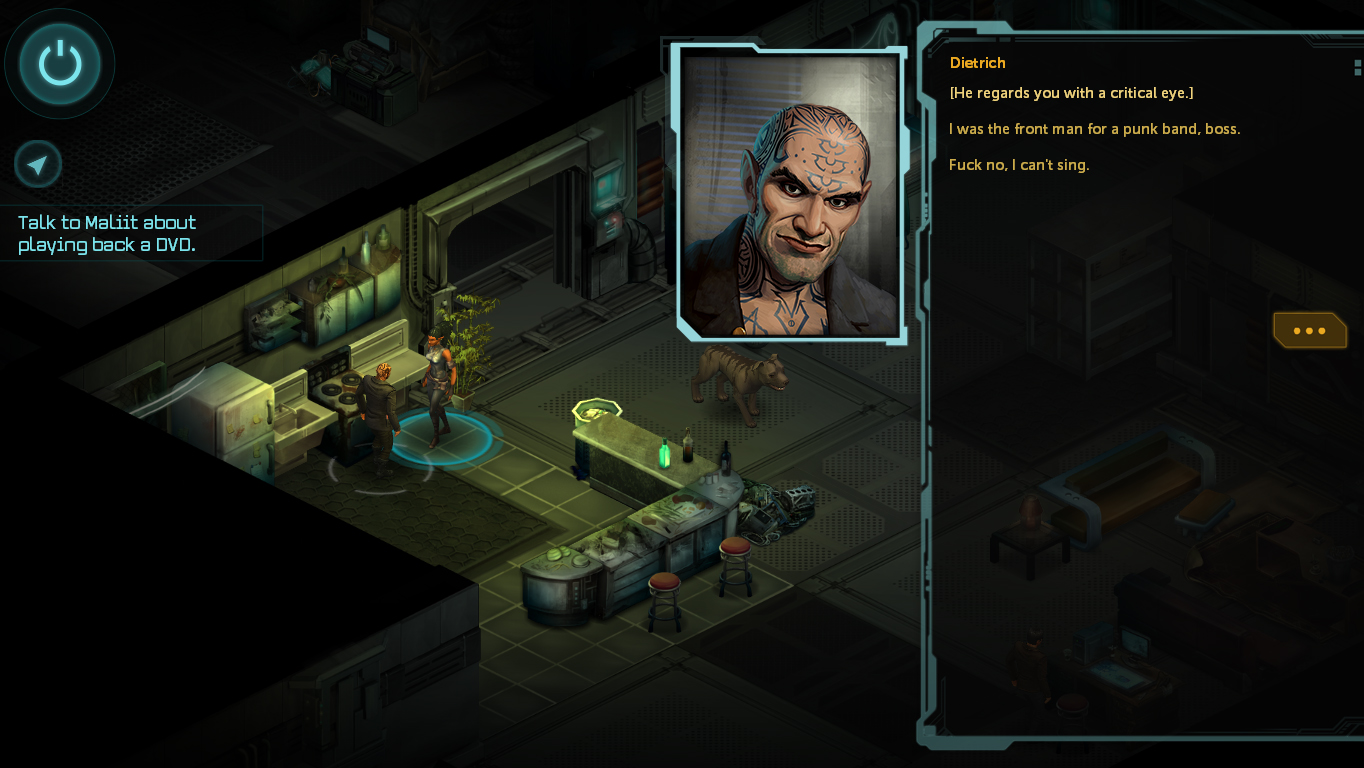 Talking to the punk shaman in your party in Shadowrun: Dragonfall