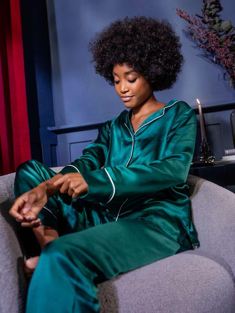 Green Silk Pyjama Set, £120, John Lewis & Partners