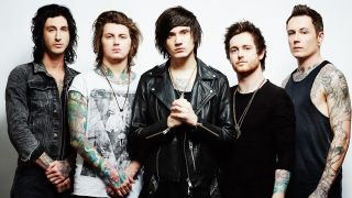 Ben Bruce, second left, with his Asking Alexandria bandmates