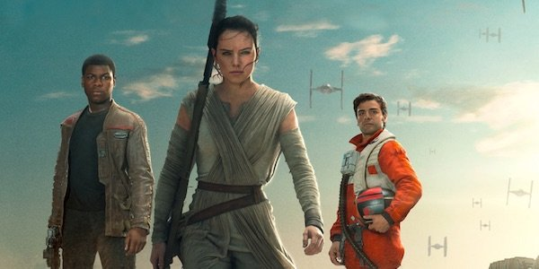 Finn, Rey and Poe in Force Awakens