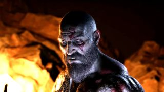 Kratos makes a weird face in God of War.