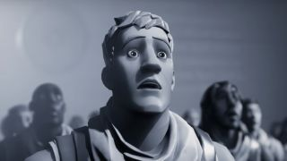 Jonesy Fortnite, in black and white.
