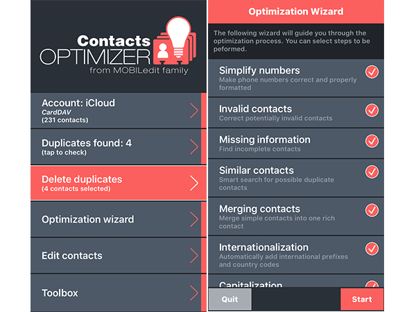 best contact apps: Contact Optimizer