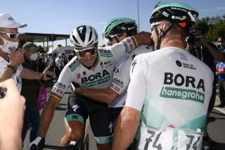 Bora-Hansgrohe celebrate after Peter Sagan's stage 10 victory in the 2021 Giro d'Italia