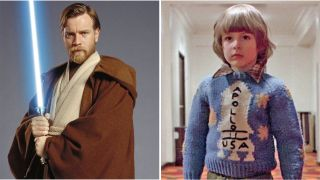 An side-by-side image of Ewan McGregor as Obi-Wan Kenobi in Star Wars and Danny Torrance from The Shining