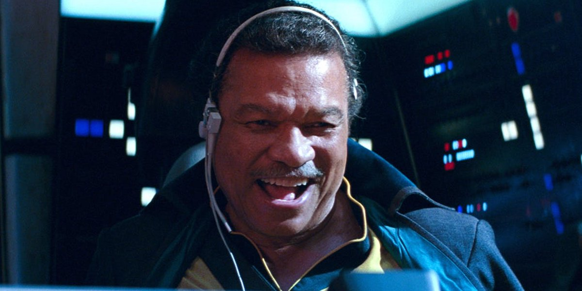Star Wars: The Rise of Skywalker Lando smiles as he pilots The Falcon