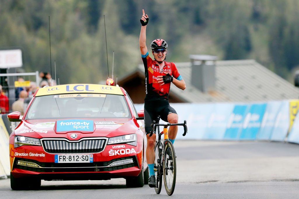 LA PLAGNE FRANCE JUNE 05 Mark Padun of Ukraine and Team Bahrain Victorious stage winner celebrates at arrival during the 73rd Critrium du Dauphin 2021 Stage 7 a 1715km stage from SaintMartinLeVinoux to La Plagne 2072m UCIworldtour Dauphin dauphine on June 05 2021 in La Plagne France Photo by Bas CzerwinskiGetty Images