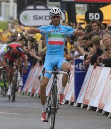Vincenzo Nibali (Astana) takes stage two of the Tour de France