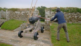 Alex Langlands fires a cannon