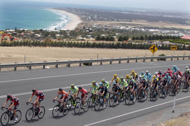 Photo: The peloton on stage four of the 2015 Tour Down Under.