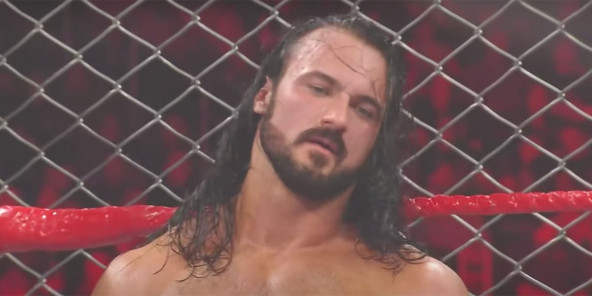 Drew McIntyre looking exhausted in a WWE ring.