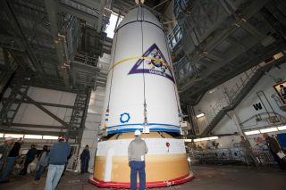 WGS-8 Satellite Mated to Rocket