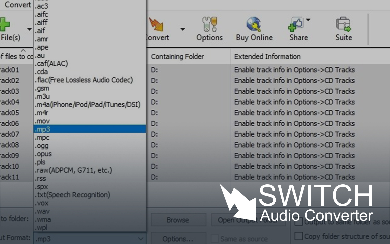 switch sound file converter serial