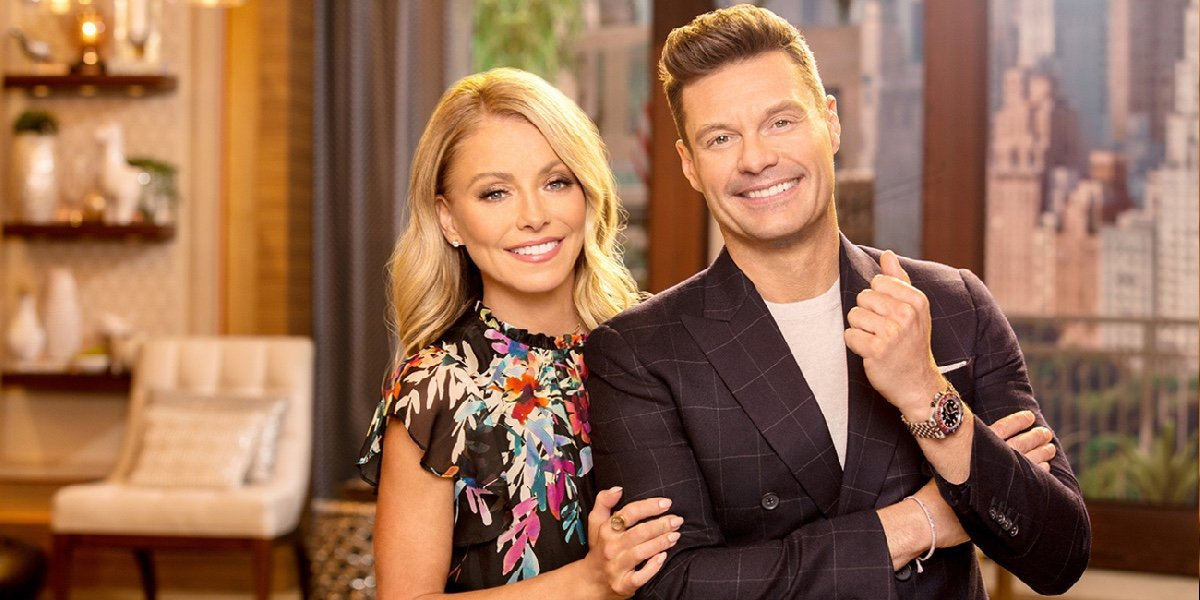 Kelly Ripa and Ryan Seacrest for Life With Kelly and Ryan.