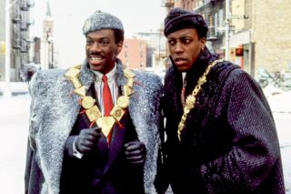 Eddie Murphy and Arsenio Hall in character in Coming to America.
