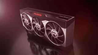 An AMD Radeon Graphics Card On Display Under A Red Light With Fog